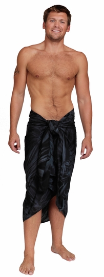 """Embroidered Tie Dye Mens Sarong """"Charcoal"""""""