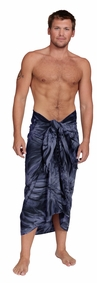 "Embroidered Tie Dye Mens Sarong ""Dark Blue"""