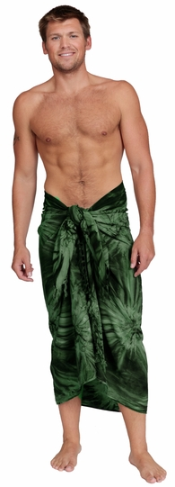 "Embroidered Tie Dye Mens Sarong ""Dark Green"""