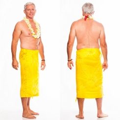 "Embroidered Tie Dye Mens Sarong ""Yellow"""