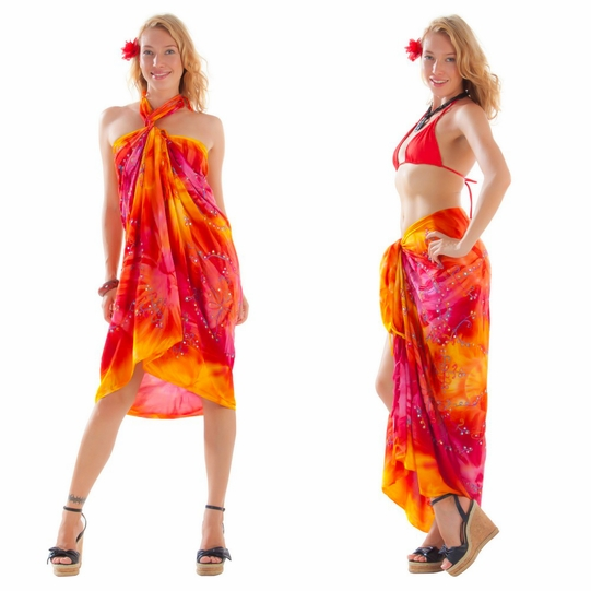 Embroidered Tie Dye Sarong in Orange/Yellow