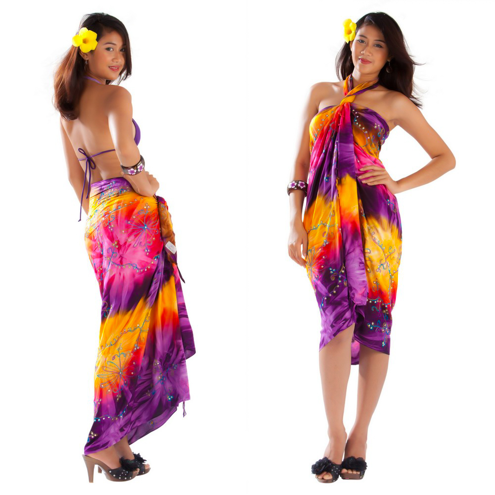 embroidered tie dye sarong in purple yellow