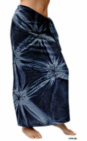 Embroidered Tie Dye Top Quality Sarong in Dark Blue