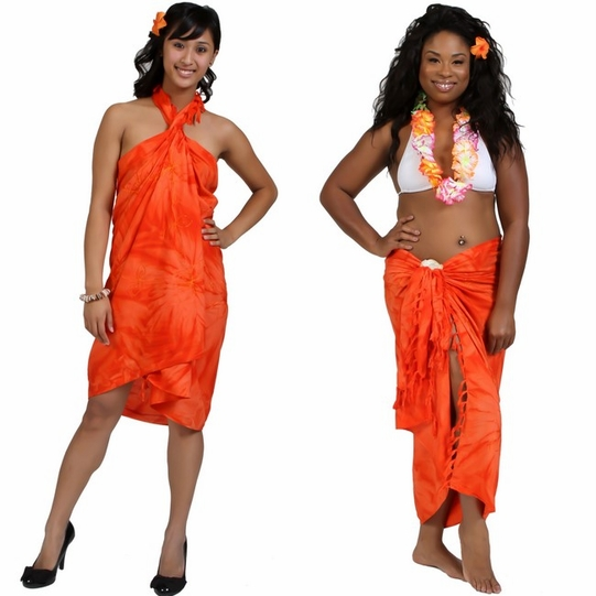 Embroidered Tie Dye Top Quality Sarong in Orange