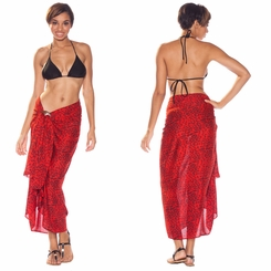 Feline Print Sarong in Red