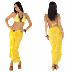 Feline Print Sarong in Yellow Fringeless
