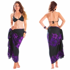 "Floral Sarong ""Amethyst Magic"" Purple and Black"