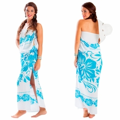 "Floral Sarong ""Blissful Sea"" Baby Blue and White"