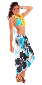 Floral Fringeless Sarong in Turquoise-NO RETURNS