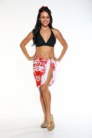 """Floral Half Sarong """"""""Passionate Scarlet"""""""" Red and White"""