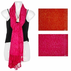 Floral Motif Extra Wide Scarf, Wrap or Shawl - in your choice of colors