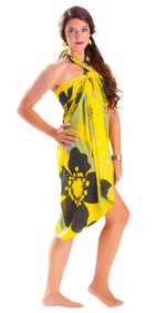 "Floral Sarong """"Bumblebee"""" Yellow and Black-NO RETURNS"