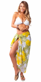 "Floral Sarong ""Canary Island"" Yellow and Green Fringeless"
