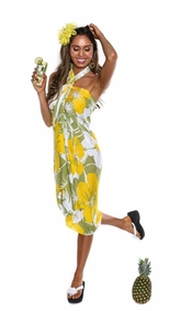 """Floral Sarong """"Canary Island"""" Yellow and Green"""