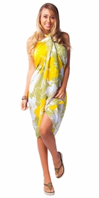 "Floral Sarong """"Canary Island"""" Yellow and Green-NO RETURNS"