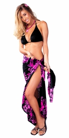 "Floral Sarong ""Cherry Blossom"" Pink Fuchsia and Black"