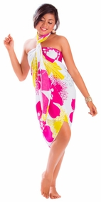 "Floral Sarong """"Happy Sunshine"""" Pink and Yellow-NO RETURNS"