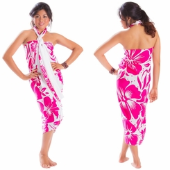 "Floral Sarong ""Infinite Love"" Pink and White"