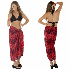 Floral Sarong In Red/Black