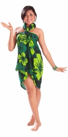 "Floral Sarong """"Lavish Jungle"""" Green and Black-NO RETURNS"