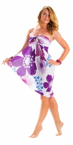 "Floral Sarong """"Purple Passion"""" Violet and Lavender-NO RETURNS"