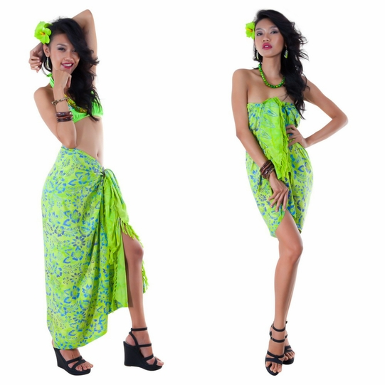 Floral Top Quality Sarong in Lime Green
