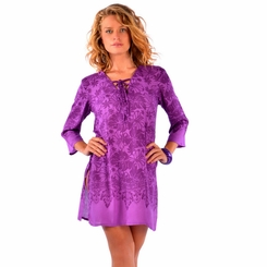 Floral Tunic Cover-Up in Purple