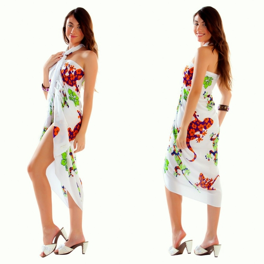 Gecko and Floral Sarong in Purple