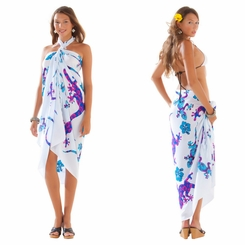 Gecko and Floral Sarong in Royal Blue
