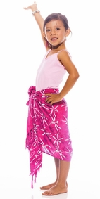 Girls Dragonfly Half Sarong in Pink
