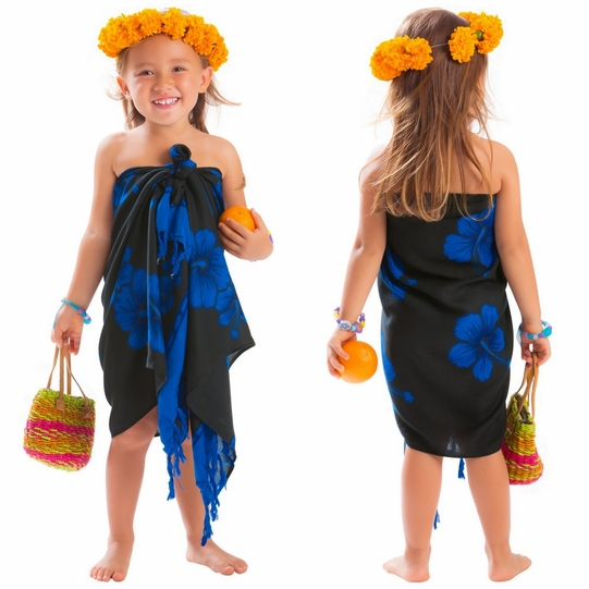 Girls Hibiscus Half Sarong in Blue / Black