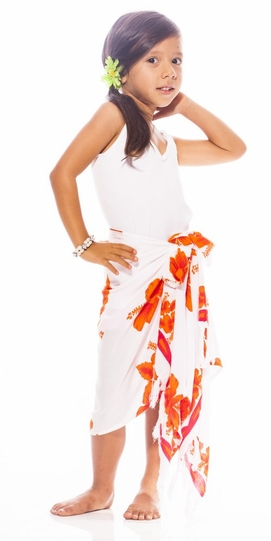 Girls Hibiscus Half Sarong in White / Orange