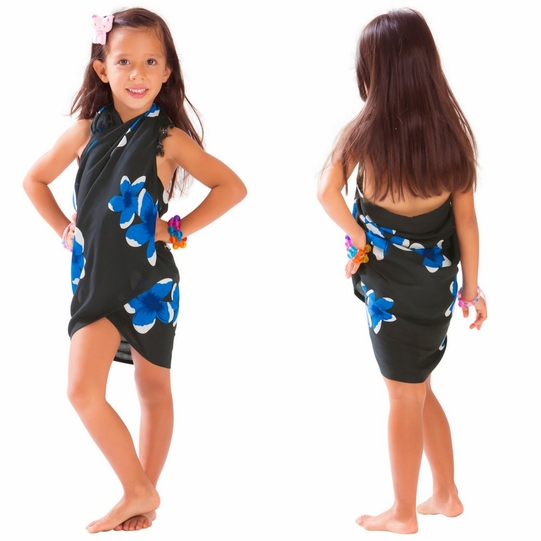 Girls Plumeria Half Sarong in Royal Blue / Black
