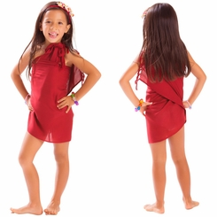 Girls Solid Color Half Sarong in Burgundy