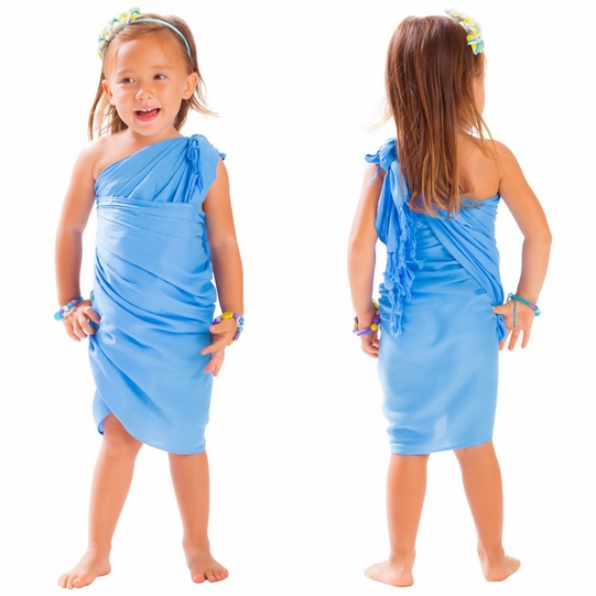 Girls Solid Color Half Sarong in in Light Blue