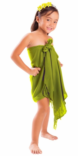 Girls Solid Color Half Sarong in Light Green Olive