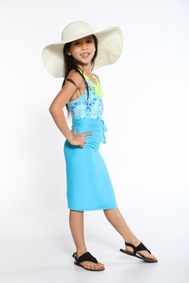 Girls Solid Color Half Sarong in Light Turquoise