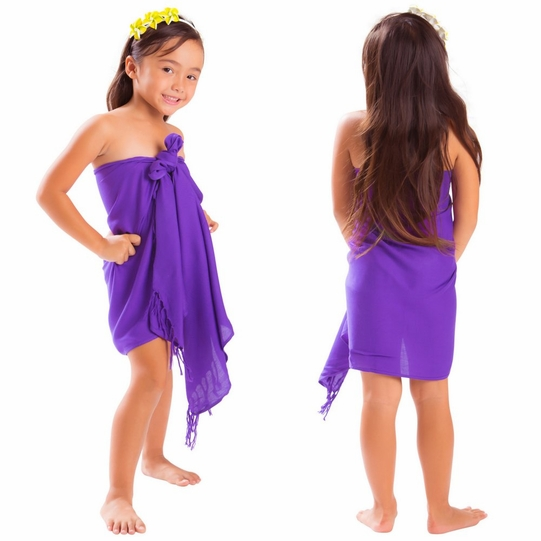 Girls Solid Color Half Sarong in Purple