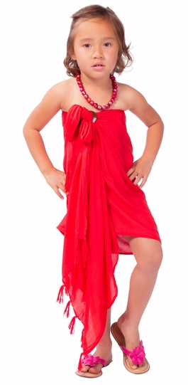 Girls Solid Color Half Sarong in Red