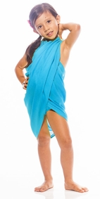 Girls Solid Color Half Sarong in Turquoise