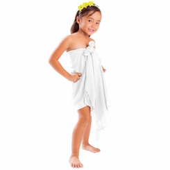 Girls Solid Color Half Sarong in White