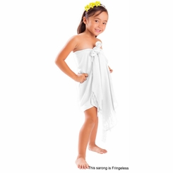 Girls Solid Color Half Sarong in White FRINGELESS