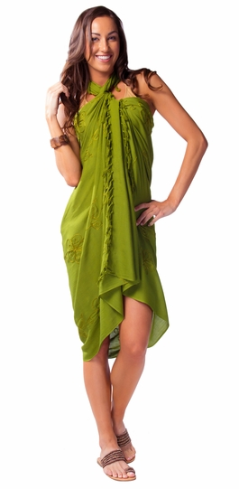 Green Light Olive Embroidered Sarong