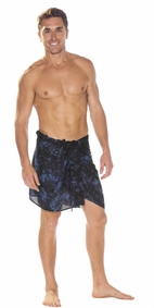 Half Mens Sarong/Mini Mens Sarong Pareo in Navy Blue Smoked
