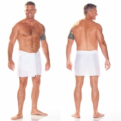 Half Mens Sarong / Mini Mens Sarong Pareo in White FRINGELESS