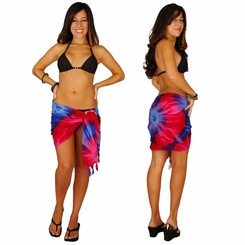 "HALF SARONG / MINI SARONG ""Chakra"" Pink-Red-Purple-Blue"""