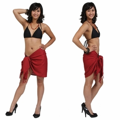 "HALF SARONG / MINI SARONG PAREO ""Red"""