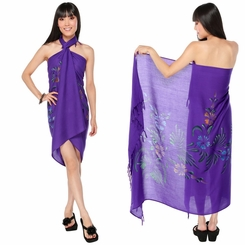 "Hand Painted Sarong Floral ""Purple Passion"""