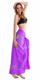 """Hand Painted Sarong Floral """"Purple Passion"""""""