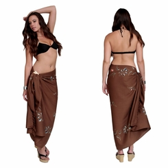 "Hand Painted Sarong Floral ""Tempting Tan"""